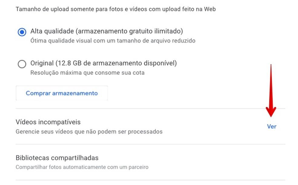 View incompatible videos on the Google Photos app Photo: Reproduo / Helito Beggiora