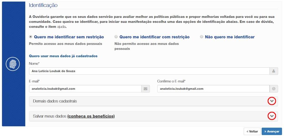 Choose between three identification options on the Ibama website Photo: Reproduo / Ana Letcia Loubak