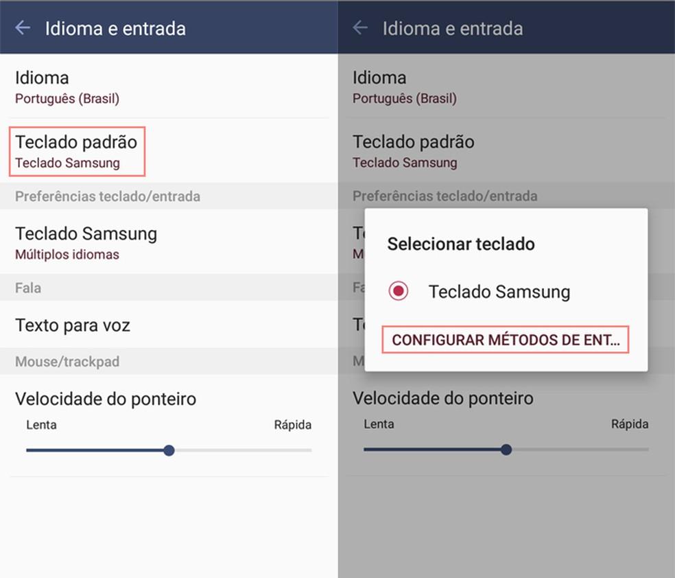 Choose your phone's default keyboard Photo: Reproduo / TechTudo