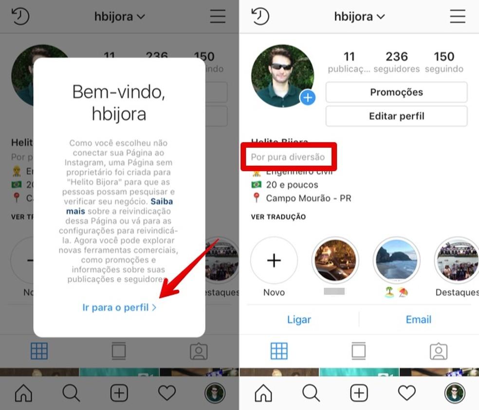 Profile changed to business account Photo: Reproduo / Helito Beggiora