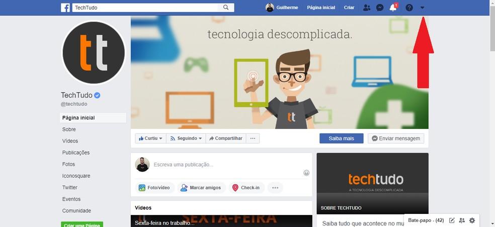 Click on the Facebook settings arrow Photo: Reproduo / Guilherme Ramos