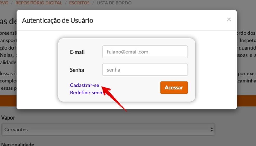 Register on the site to use the search Photo: Reproduo / Helito Beggiora