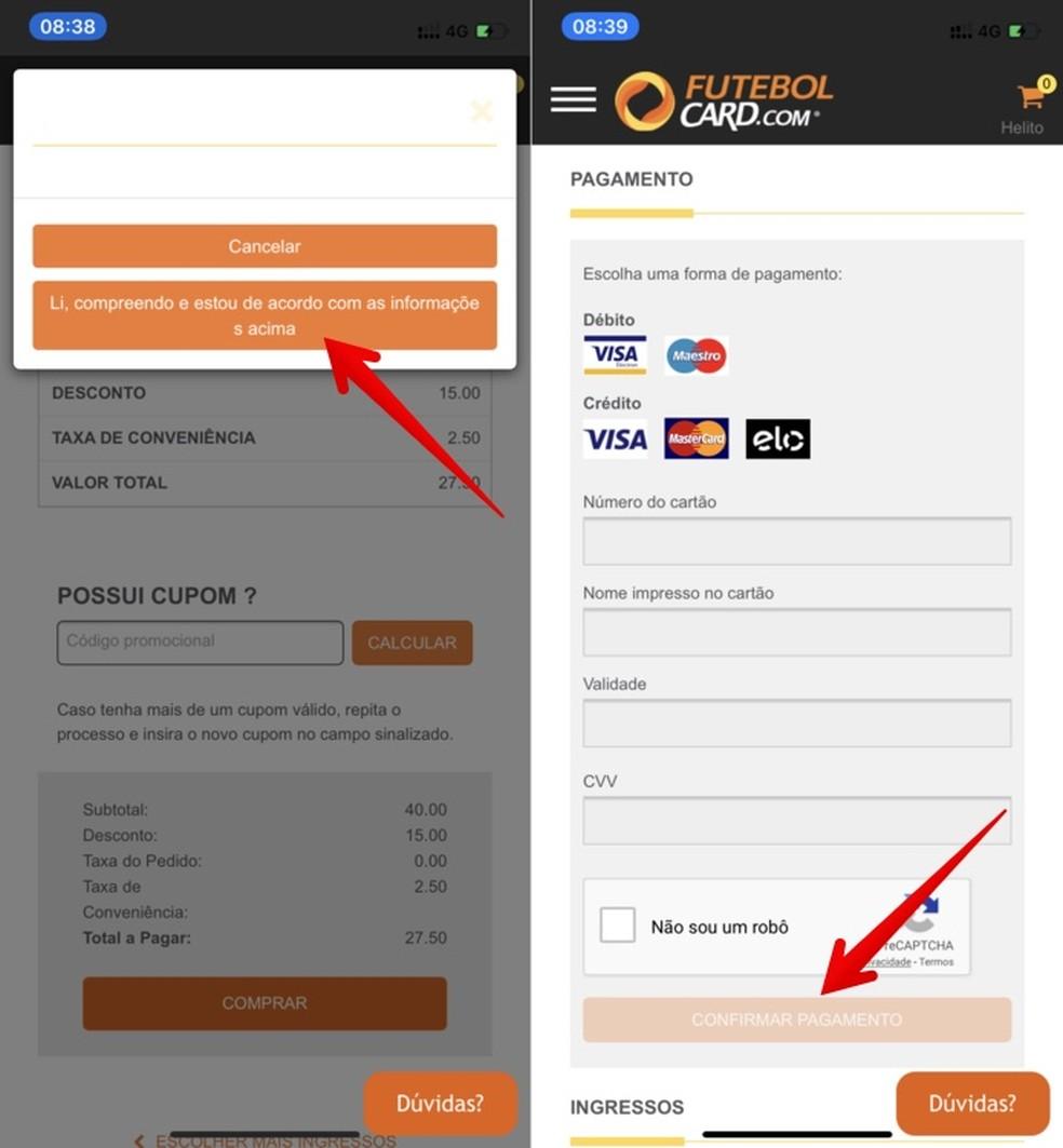 Buying tickets on the Futebolcard app Photo: Reproduo / Helito Beggiora