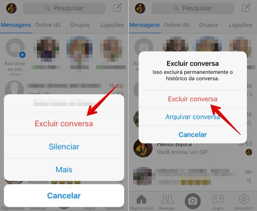 Delete the Messenger conversation history Photo: Reproduo / Helito Beggiora