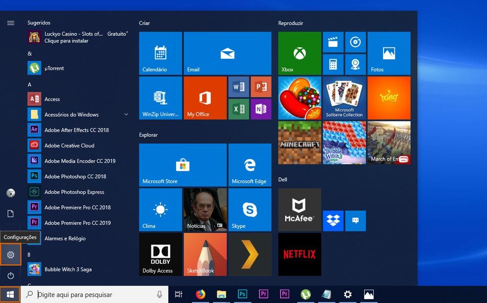 Open the Windows settings on the PC Photo: Reproduction / Barbara Mannara