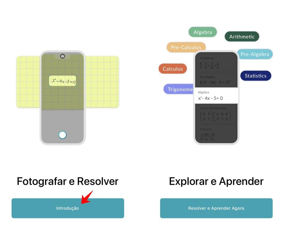 Go through the Microsoft Math Solver welcome screen Photo: Reproduo / Rodrigo Fernandes