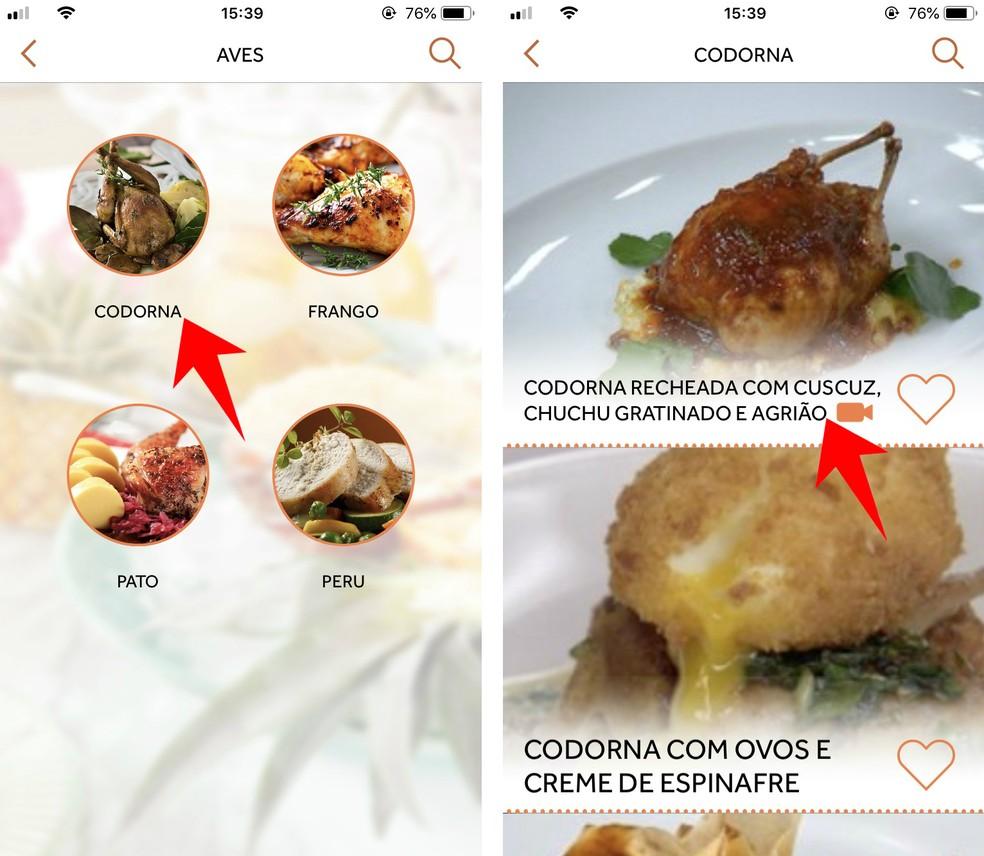 Nhac GNT recipes are organized by type of preparation Photo: Reproduo / Rodrigo Fernandes