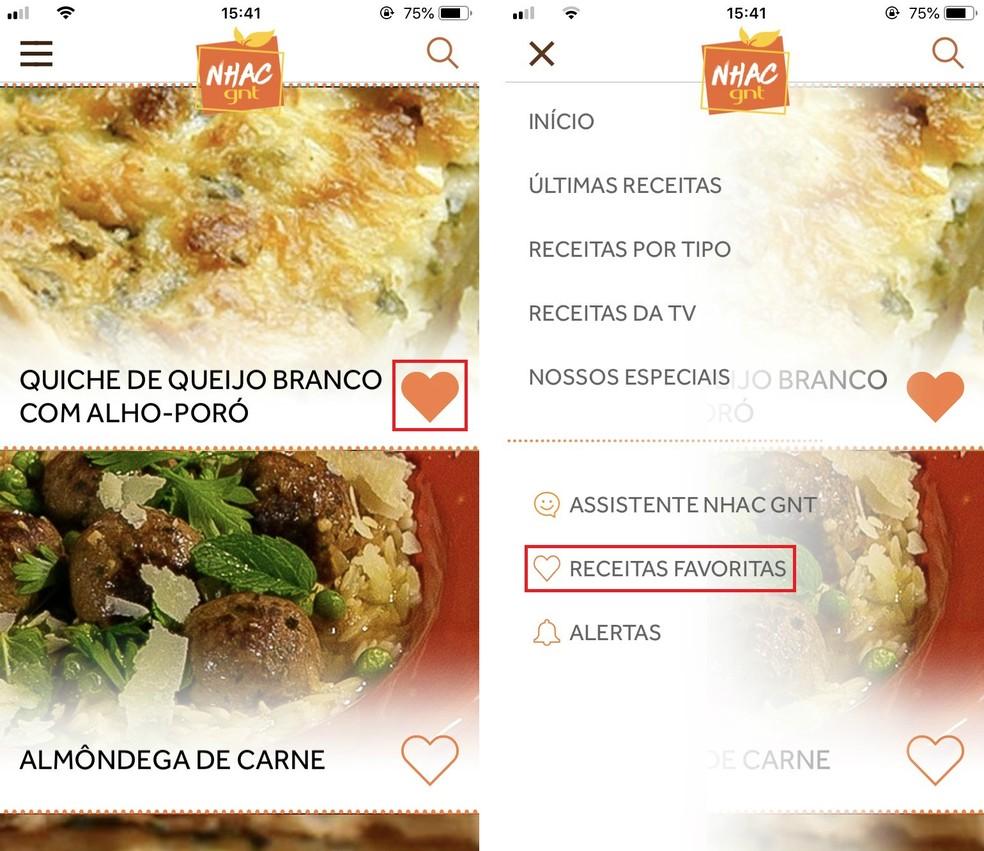 Saving recipes in the Nhac GNT app Photo: Reproduo / Rodrigo Fernandes
