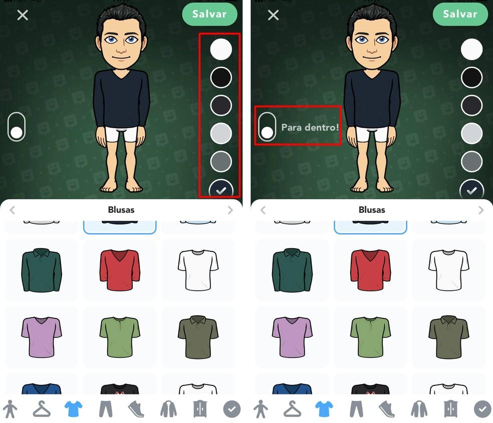 Bitmoji allows you to choose colors of clothing items Photo: Reproduo / Rodrigo Fernandes