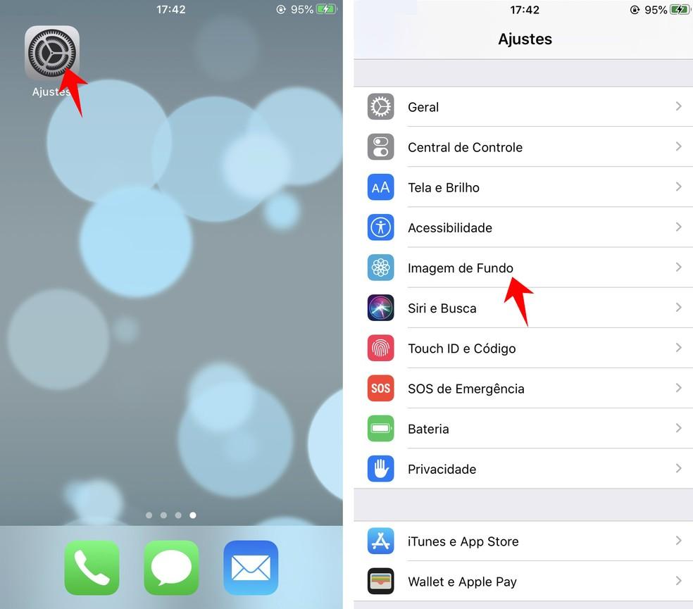 Accessing iPhone background image settings Photo: Reproduo / Rodrigo Fernandes