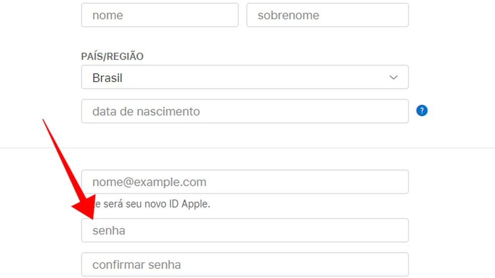 Enter personal data and set a password Photo: Reproduo / Paulo Alves