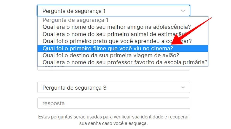 Configure Apple ID security questions Photo: Reproduo / Paulo Alves