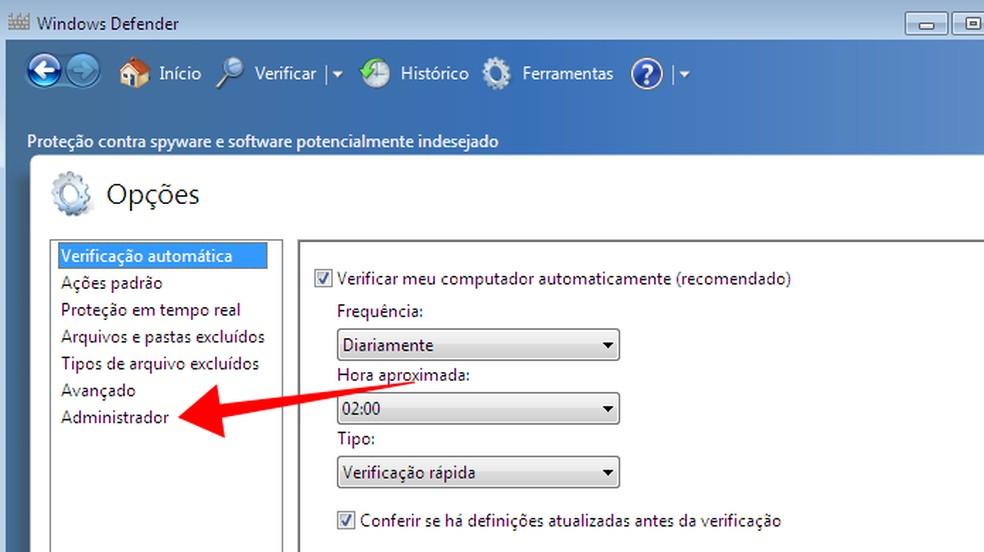 Access the Windows Defender administrator options Photo: Reproduo / Paulo Alves