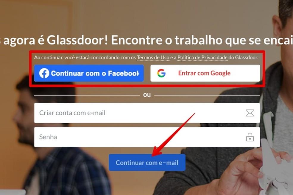 Creating registration at Glassdoor Photo: Reproduo / Helito Beggiora