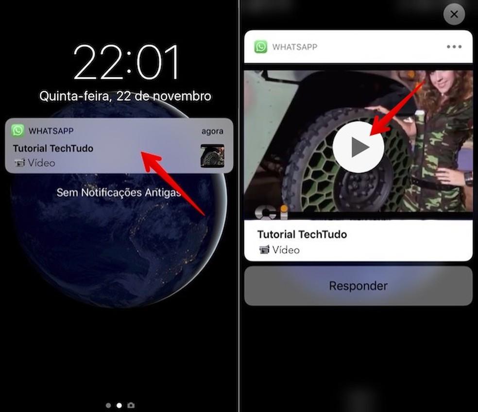 View WhatsApp videos on the iPhone lock screen Photo: Reproduo / Helito Beggiora