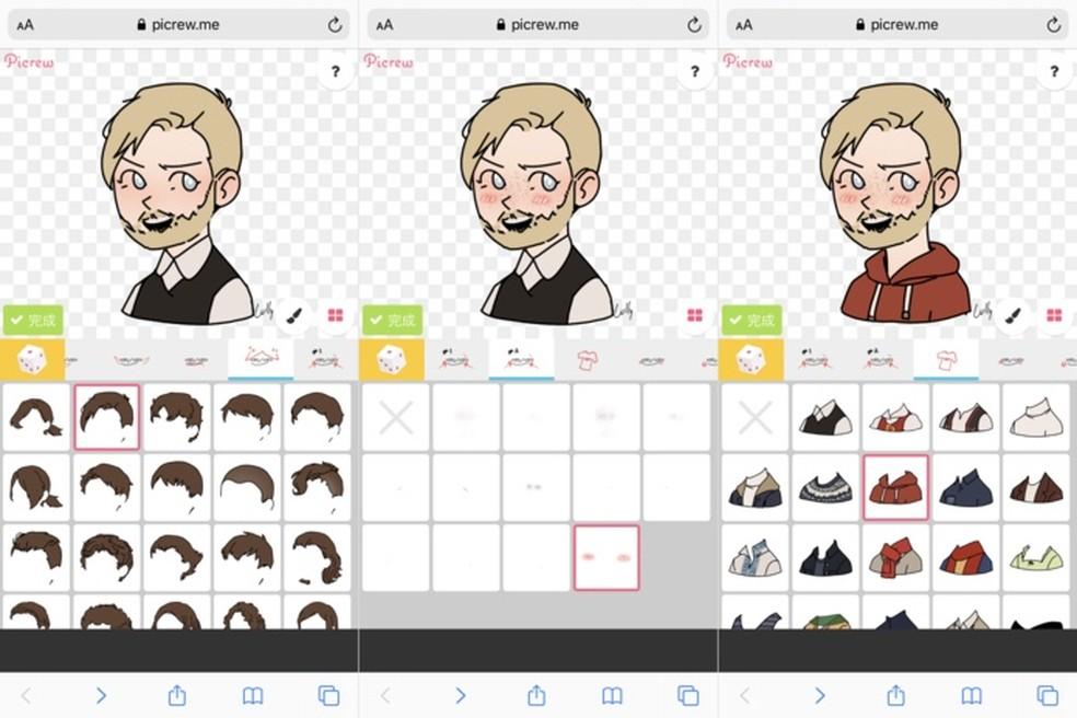 Creating a caricature on Picrew Photo: Reproduo / Helito Beggiora