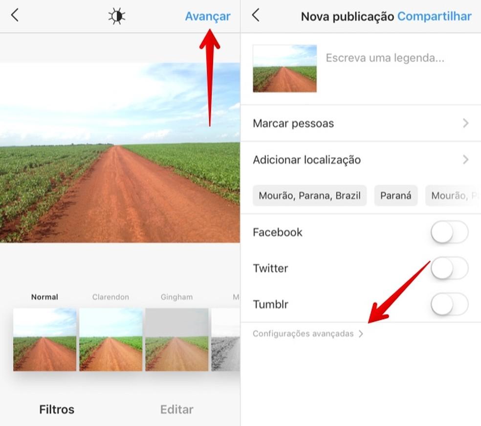 Access the advanced publishing settings Foto: Reproduo / Helito Beggiora