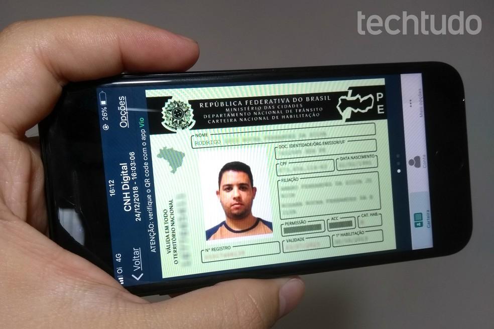 CNH Digital app provides official driver's license on mobile screen Photo: Rodrigo Fernandes / TechTudo