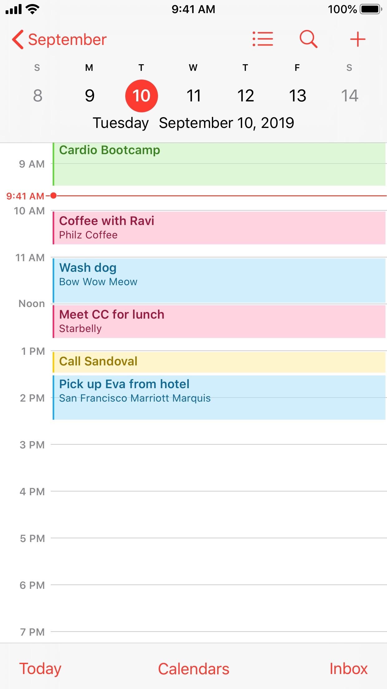 Screenshot of Calendar app