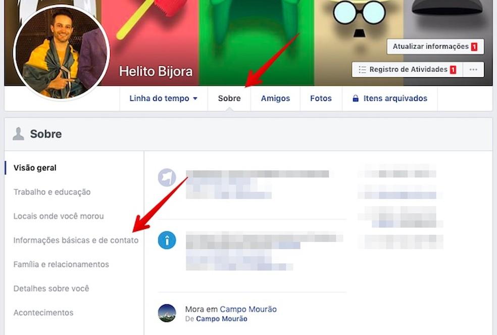 Access your Facebook profile Photo: Reproduo / Helito Beggiora