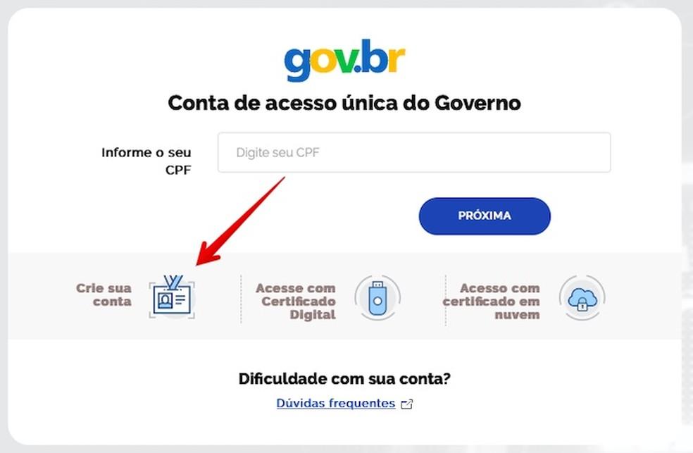 Create an account on the government services portal Photo: Reproduo / Helito Beggiora