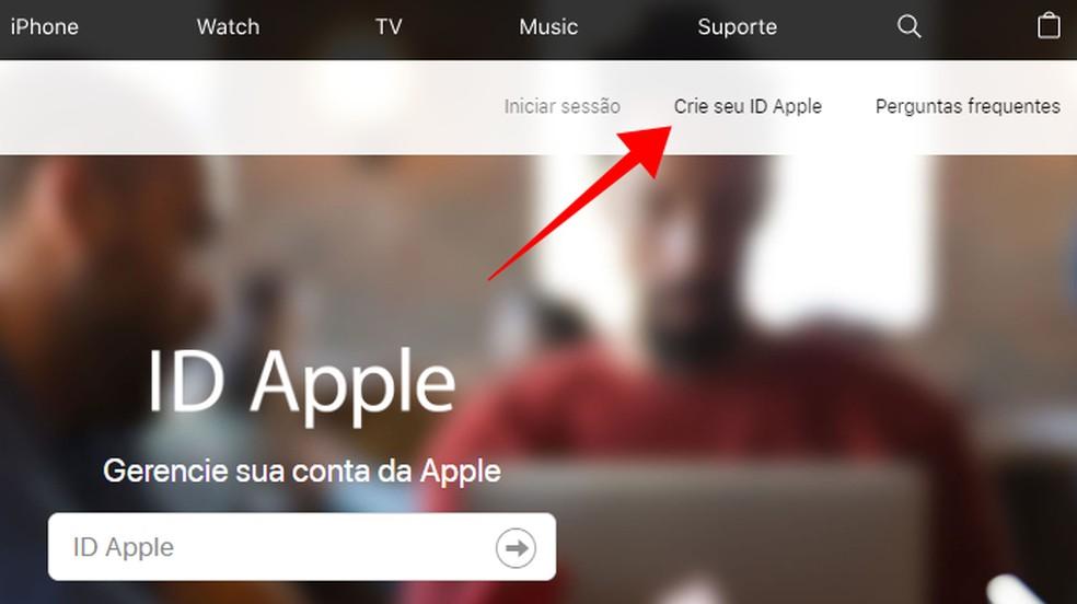 Create an Apple ID through the PC browser Photo: Reproduo / Paulo Alves