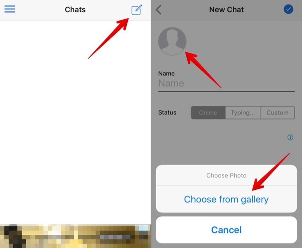 Add a profile photo to the fake WhatsJoke chat Photo: Reproduo / Helito Beggiora