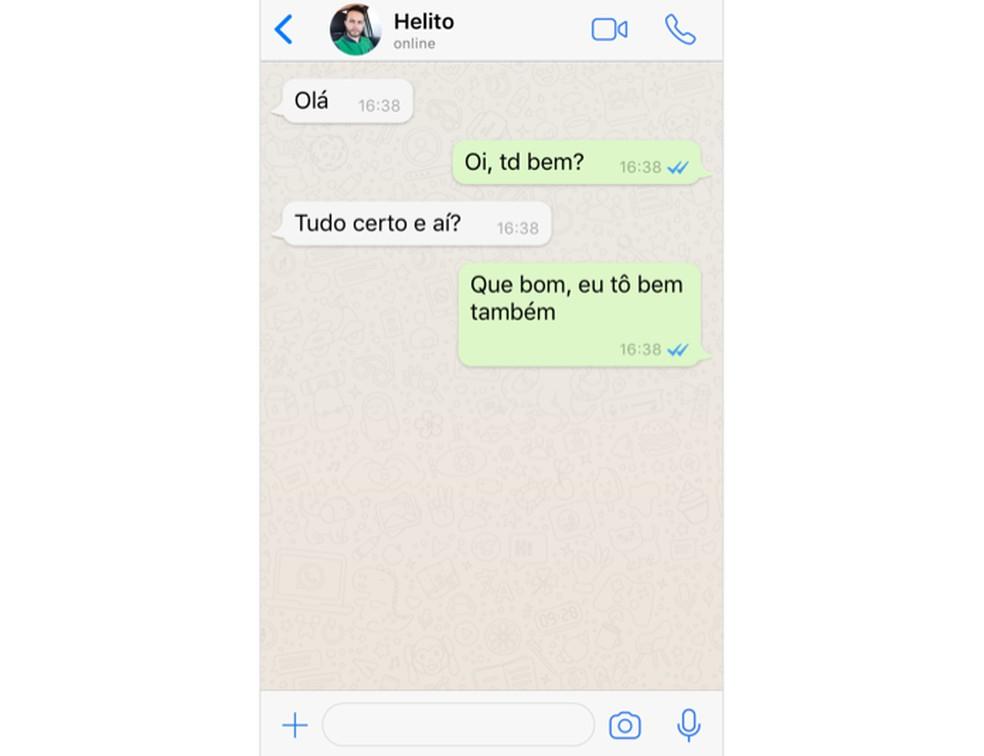 Example of fake conversation on WhatsJoke Photo: Reproduo / Helito Beggiora