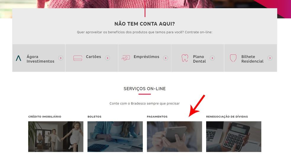 """Select the """"Payments"""" section on Banco Bradesco's website Foto: Reproduo / Ana Letcia Loubak"""