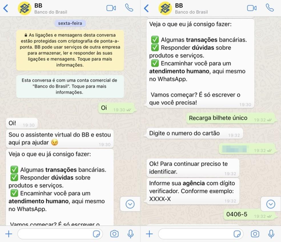 Use BB's virtual assistant on WhatsApp Photo: Reproduo / Helito Beggiora