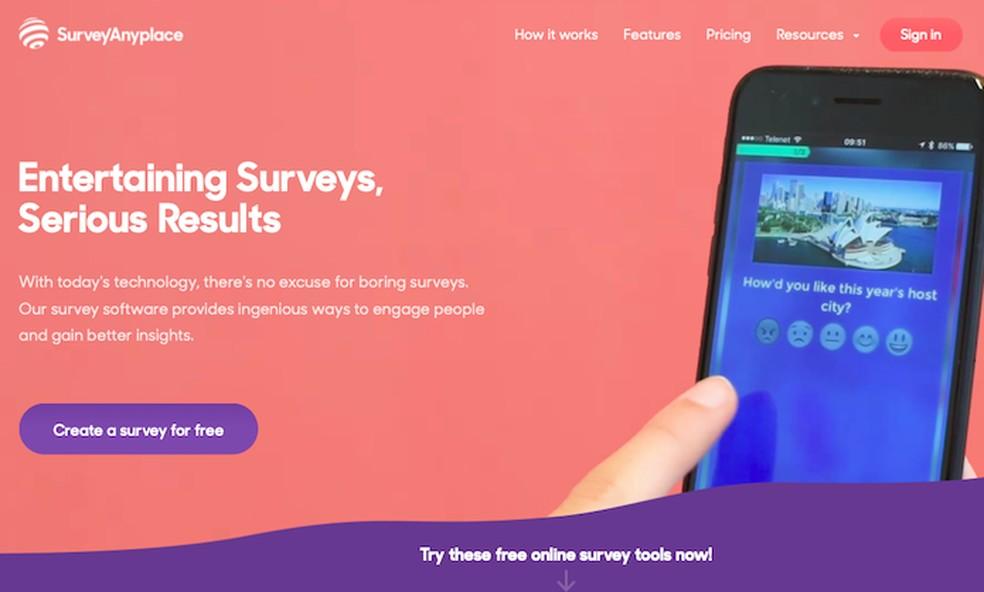 Learn to create surveys in Survey Any Place Photo: Divulgao / Survey Any Place