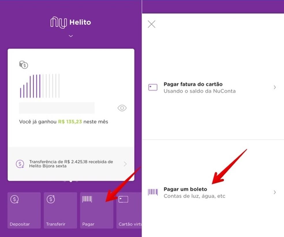 Open the billet payment screen through the Nubank app. Photo: Reproduo / Helito Beggiora
