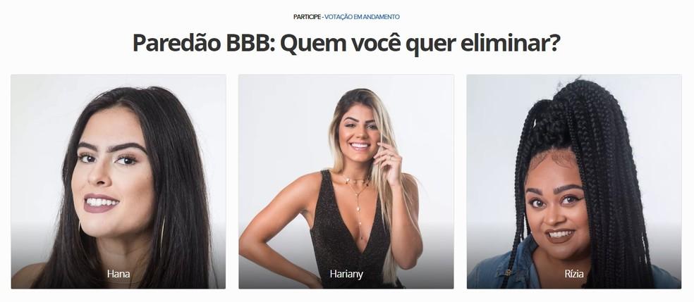 Hana, Hariany and Rzia face BBB 2019 third wall Photo: Reproduction / TechTudo