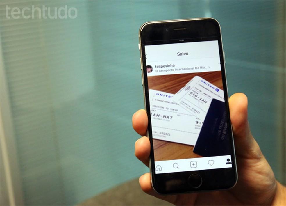 Common practice, passing photos on Instagram can compromise data Photo: Gabrielle Lancellotti / TechTudo