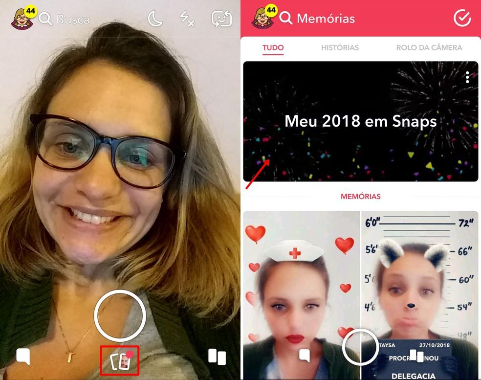 Accessing the retrospective on Snapchat Photo: Reproduo / Taysa Coelho