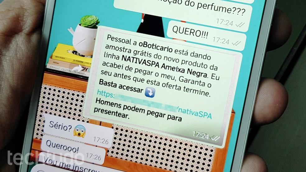 WhatsApp scam involved the cosmetics brand O Boticrio Photo: Tainah Tavares / TechTudo