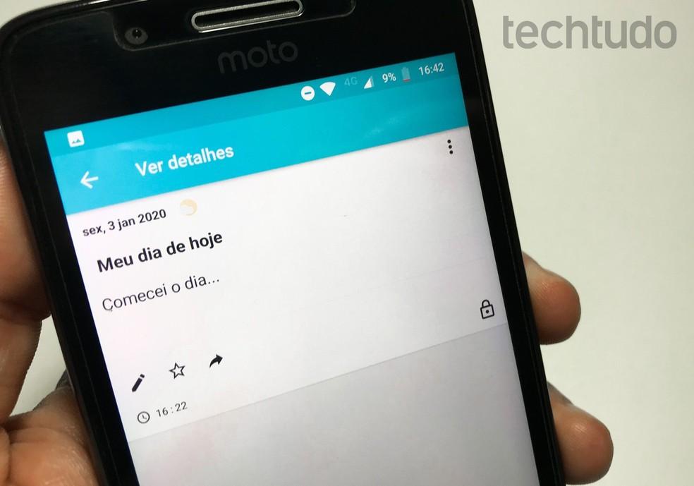 Virtual diary app: list brings five daily app options for 2020 Photo: Rodrigo Fernandes / TechTudo