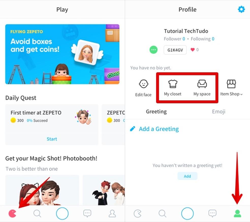 Accessing games and avatar customization Photo: Reproduo / Helito Beggiora