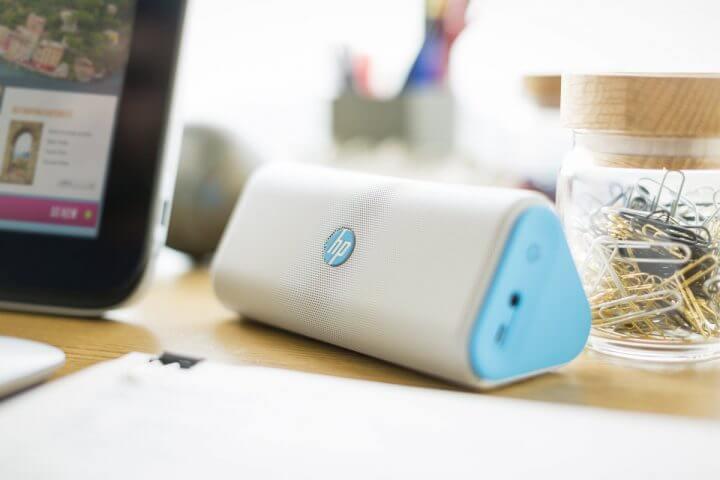 HP Roar Plus Wireless Speaker on desktop