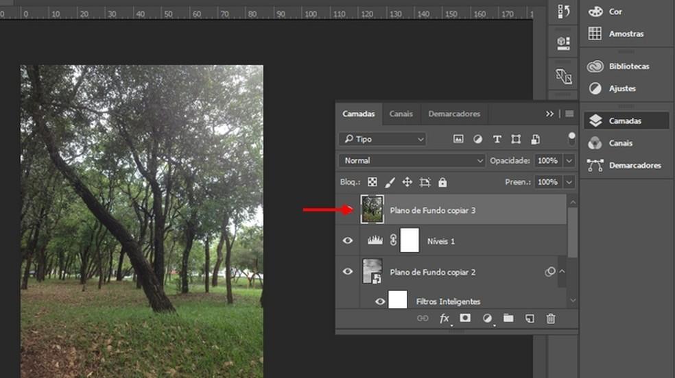 "Drag the ""Background copy 3"" layer to the top Photo: Reproduo / Joo Pedro Voltarelli"