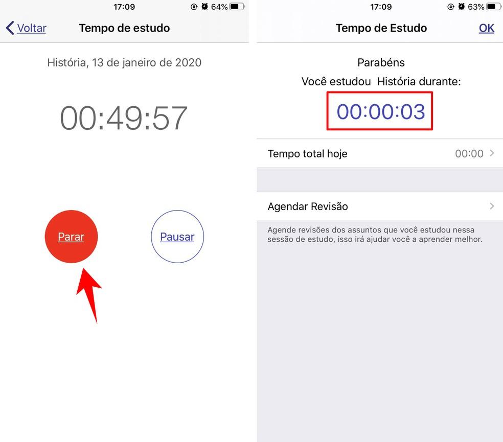 Easy Study shows report with study time Photo: Reproduo / Rodrigo Fernandes
