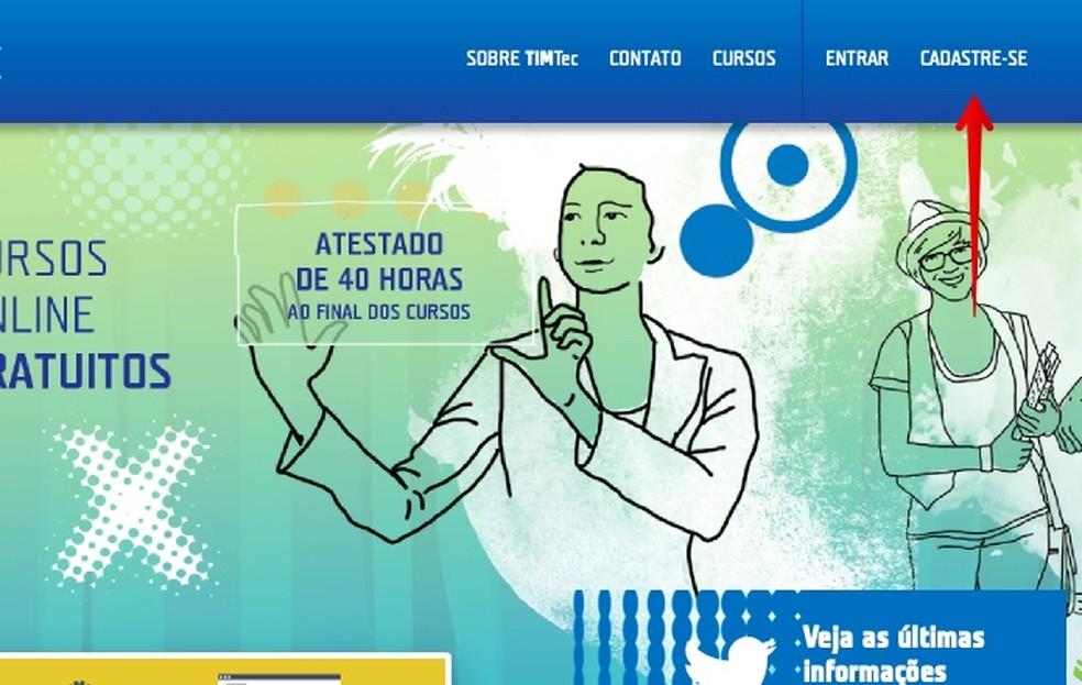 Register on the TIM Tec website Photo: Reproduo / Helito Beggiora