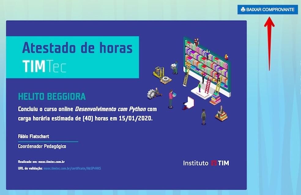 Downloading the certificate Photo: Reproduo / Helito Beggiora