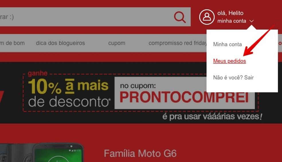 Access your orders Photo: Reproduo / Helito Beggiora