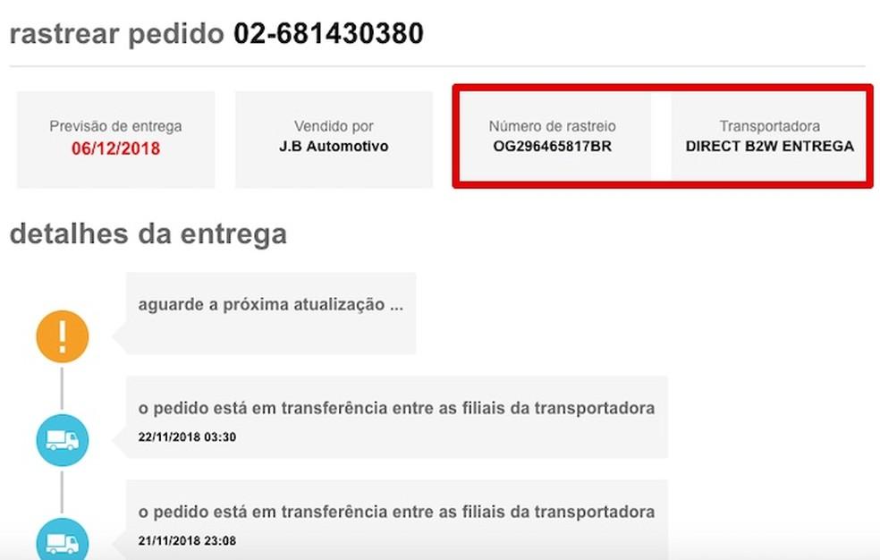 Discovering the order tracking code Photo: Reproduo / Helito Beggiora