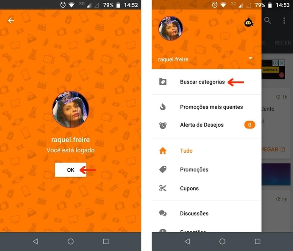 Pelando app main menu with active login Photo: Reproduo / Raquel Freire