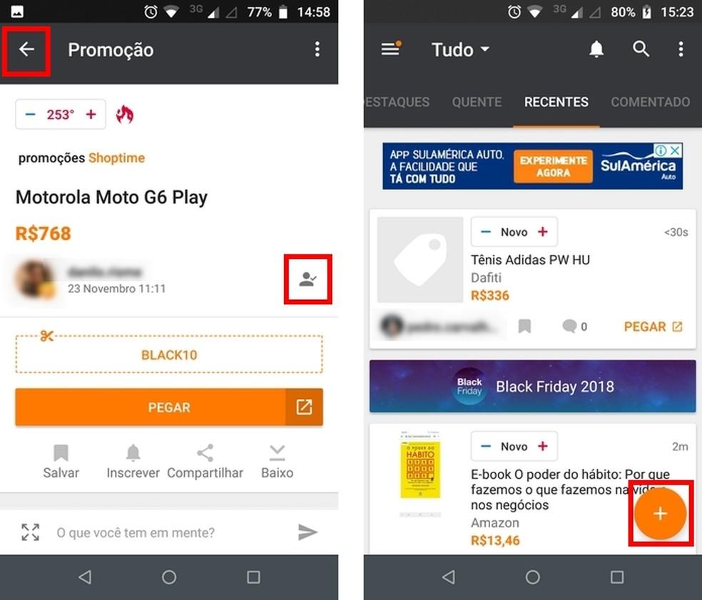 Add offers on the main Pelando app screen Photo: Reproduo / Raquel Freire