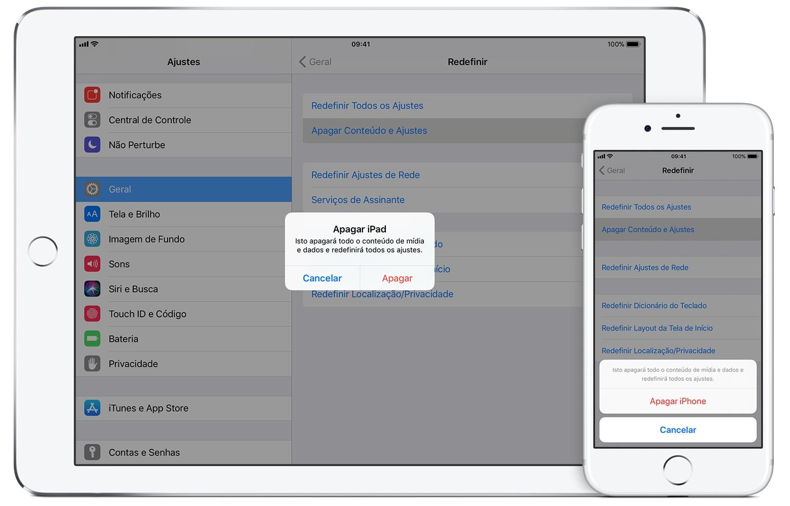 Erasing an iPhone and an iPad