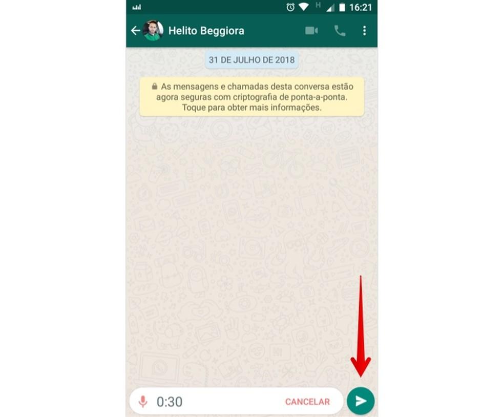 Send audio with recorded music on WhatsApp Photo: Reproduo / Helito Beggiora