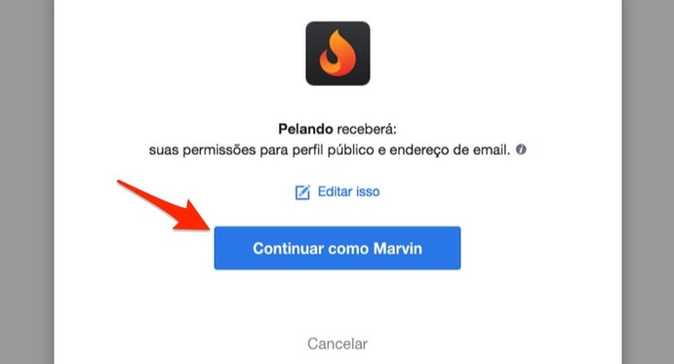 When to create an account on the social network Pelando using a Facebook login Photo: Reproduo / Marvin Costa